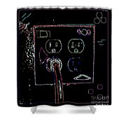 Modern Power Shower Curtain by Joseph Baril