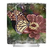 Monarch- Butterfly Mixed Media Photo Composite Shower Curtain