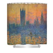Monet's The Houses Of Parliament At Sunset Shower Curtain