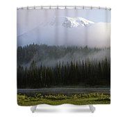Mount Rainier Shrouded In Fog Shower Curtain