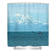 Mount Redoubt Across Cook Inlet From Ninilchik-ak   Shower Curtain