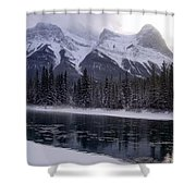 Mountain Sunset Christmas Canmore, Alberta Shower Curtain