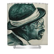 Mr Bowler Mustache Shower Curtain