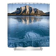 Mt. Michener And Ice On Abraham Lake Shower Curtain