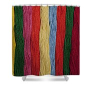 Multicolored Embroidery Thread In Rows Shower Curtain