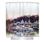 On Boathouse Row Shower Curtain