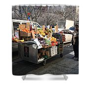 New York Street Vendor Shower Curtain by Frank Romeo
