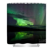 Night Sky Stars Clouds Northern Lights Mirrored Shower Curtain