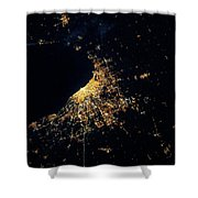 Night Time Satellite Image Of Chicago Shower Curtain