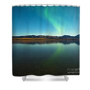 Northern Lights And Fall Colors At Calm Lake Shower Curtain