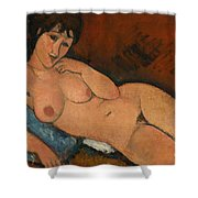 Nude On A Blue Cushion Shower Curtain