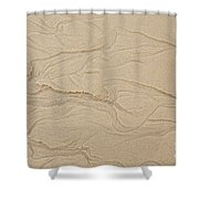 Ocean Sand Art Hearts Left Side Shower Curtain