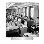 Office Workers Entering Data Shower Curtain by Underwood Archives