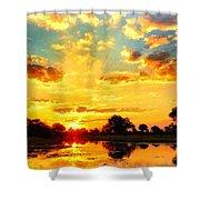 Okavango Delta Sunset Shower Curtain