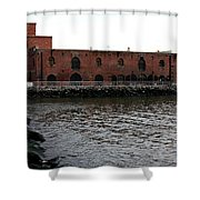 Old Brooklyn Pier Warehouse Shower Curtain