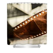 Old Film Strip And Photos Background Shower Curtain