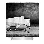 Old Glasses On Desk Shower Curtain