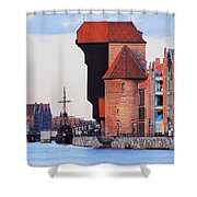 Old Port Crane In Gdansk Shower Curtain