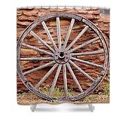 Old Wagon Wheel 2 Shower Curtain