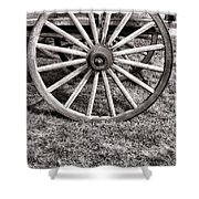 Old Wagon Wheel On Cart Shower Curtain