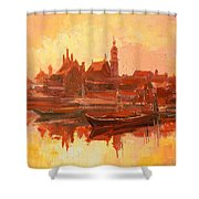 Old Warsaw - Wisla River Shower Curtain