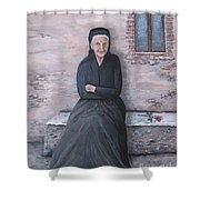 Old Woman Waiting Shower Curtain