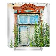 Old Wooden Window Shower Curtain