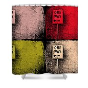 One Way Street Shower Curtain
