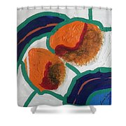 2 Orange Shower Curtain