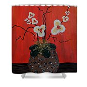 Orchids In A Pot On Orange Shower Curtain