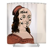 Ornamental Patches On Face 17th Century Shower Curtain