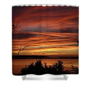 Outer Banks Sunset Over Bay And Colington Island Shower Curtain