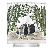 Panda Bear In Bamboo Bush Hand-torn Newspaper Collage Art  Shower Curtain