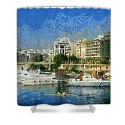 Panoramic Painting Of Pasalimani Port Shower Curtain