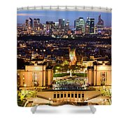 Paris Panorama France At Night Shower Curtain