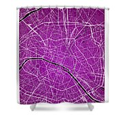 Paris Street Map - Paris France Road Map Art On Colored Backgrou Shower Curtain