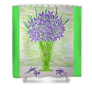 Parrot Green Depression Glass Shower Curtain