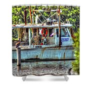 Pelican And Fishing Boat Shower Curtain