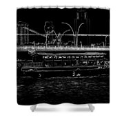 Pencil - Colorful River Cruise Boat In Singapore Next To A Bridge Shower Curtain
