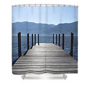 Pier On An Alpine Lake Shower Curtain