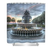 Majestic Sunset In Waterfront Park Shower Curtain