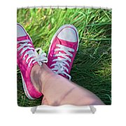 Pink Sneakers On Girl Legs On Grass Shower Curtain