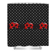 Polka Dot Lady Bugs Shower Curtain