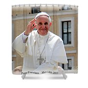 Pope Francisco Shower Curtain by Diane Greco-Lesser