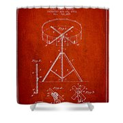 Portable Drum Patent Drawing From 1903 - Red Shower Curtain by Aged Pixel
