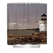 Portland Breakwater Lighthouse Shower Curtain