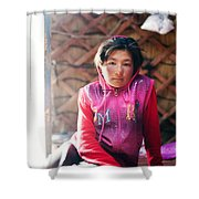Portrait Of Young Kyrgyz Girl Inside A Yurt China Shower Curtain
