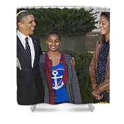 President Obama And Daughters Shower Curtain
