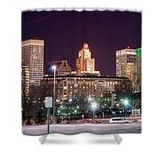 Providence Rhode Island Skyline At Night Shower Curtain