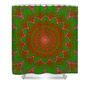 Psychedelic Spiral Vortex Green And Red Fractal Flame Shower Curtain
